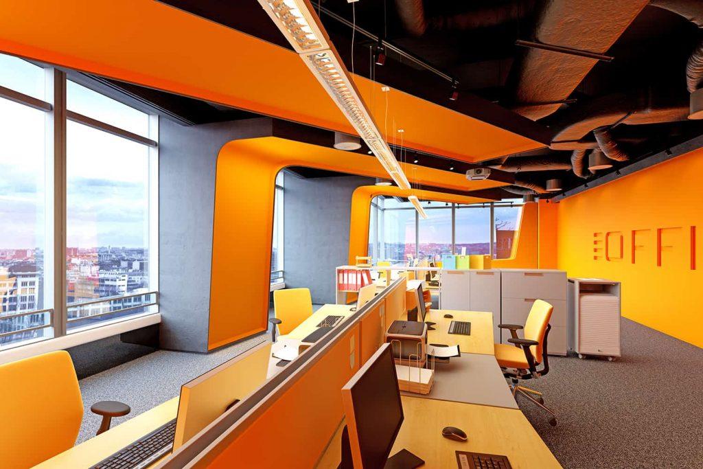 Biuro w stylu ekstrawaganckim - mocne kolory ścian